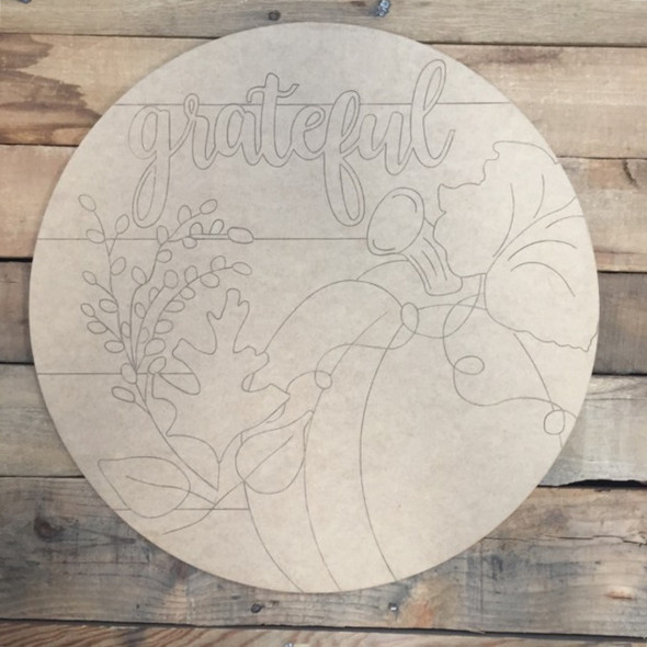 Grateful Circle, Wood Cutout, Shape, Paint by Line
