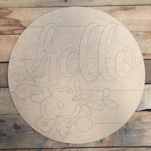 Hello Circle, Wood Cutout, Shape, Paint by Line