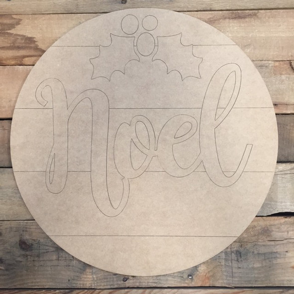 Noel Christmas Circle, Wood Cutout, Shape, Paint by Line