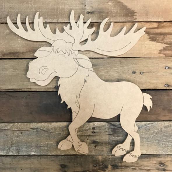 Moose Cutout, Unfinished Shape, Paint by Line