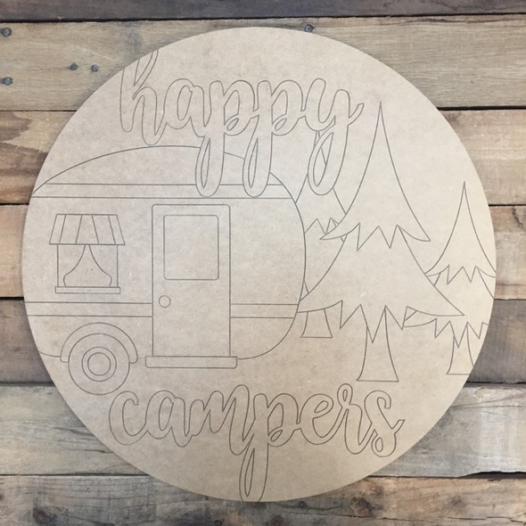 Happy Camper Circle, Wood Cutout, Shape, Paint by Line