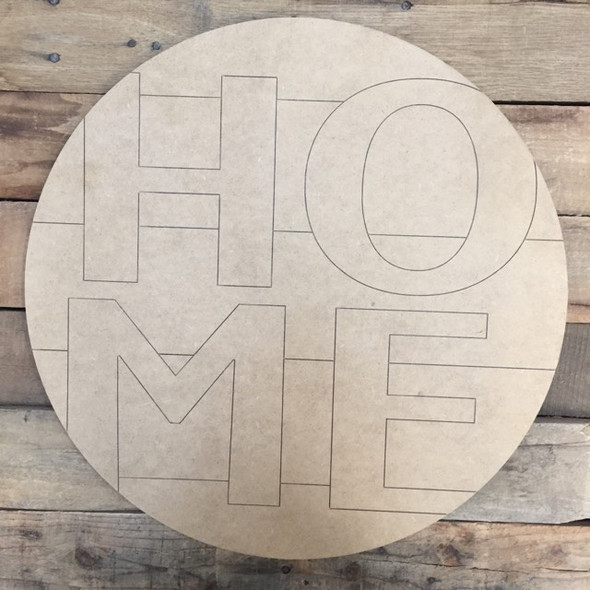 Home Circle, Wood Cutout, Shape, Paint by Line