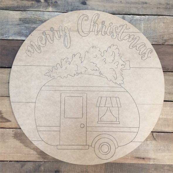 Merry Christmas Camper Circle, Wood Cutout, Shape, Paint by Line