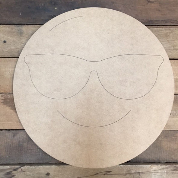 Sunglasses Emoji Cutout, Unfinished Shape, Paint by Line