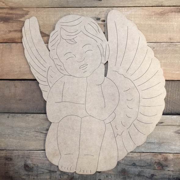 Sitting Angel, Wood Cutout, Shape, Paint by Line