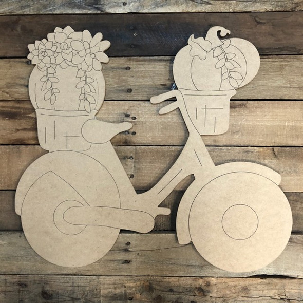 Bicycle with Succulent Pumpkin, Wood Cutout, Shape, Paint by Line