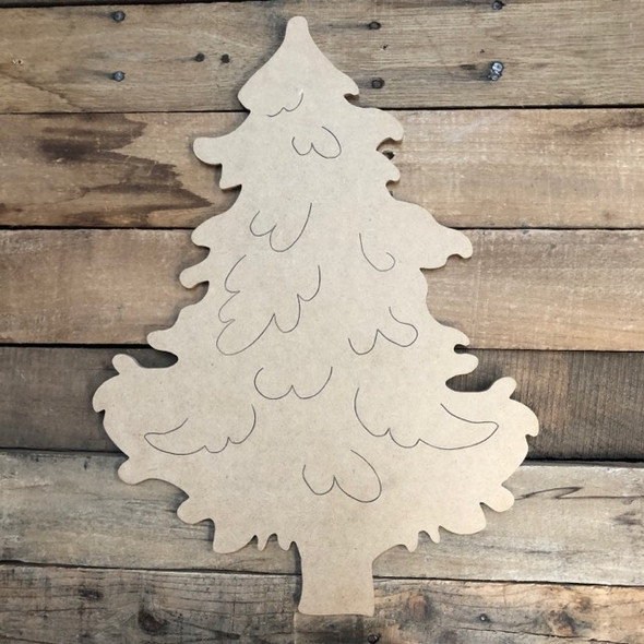 Christmas Tree Wood Cutout, Unfinished Shape, Paint by Line