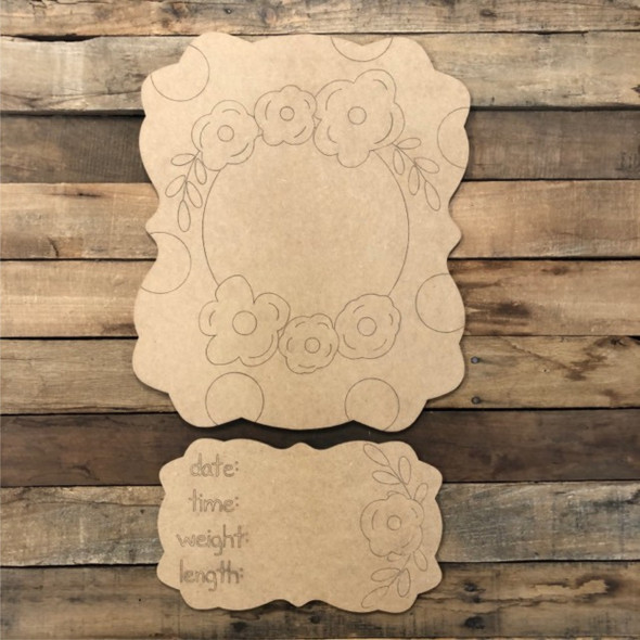 Flower Plaque, Baby Announcement, Hospital Hanger Paint by Line