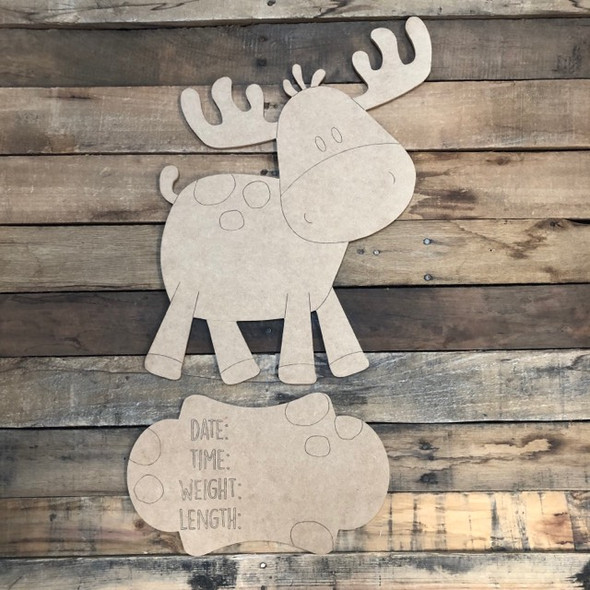 Moose Hospital Plaque, Baby Announcement,  Paint by Line