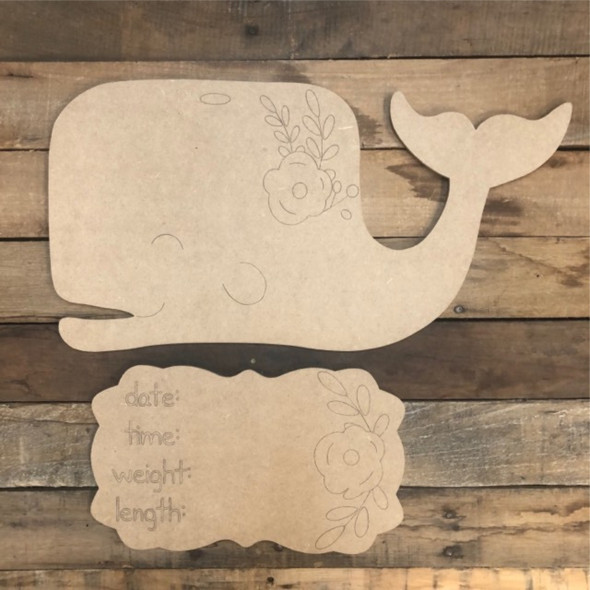 Whale Baby Announcement,  Hospital Door Hanger Paint by Line