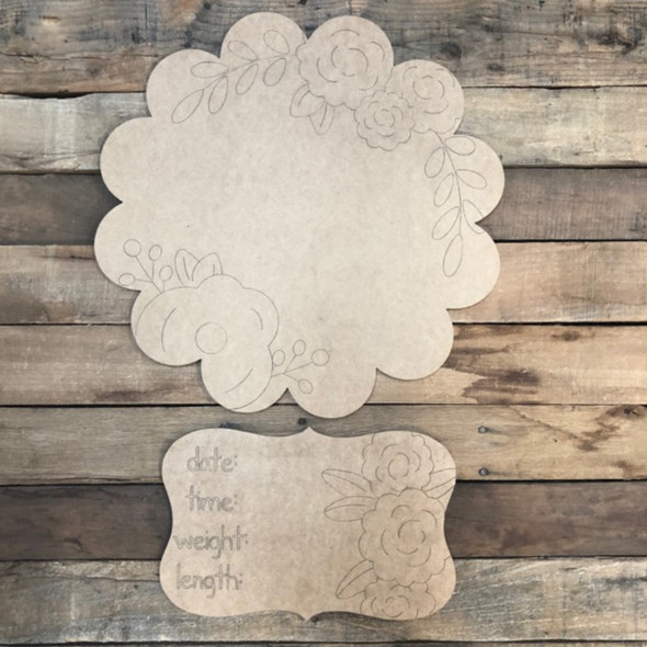 Flower Circle Baby Announcement, Door Hanger Paint by Line