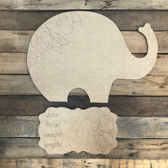 Elephant Baby Announcement, Door Hanger Paint by Line