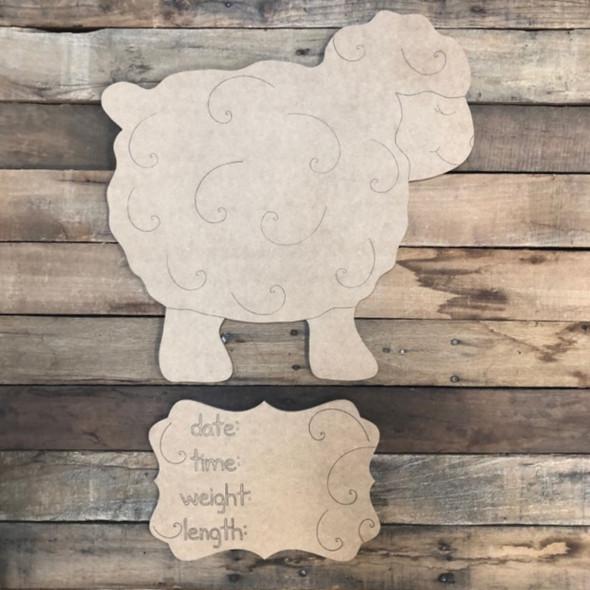 Sheep Baby Announcement, Door Hanger Paint by Line