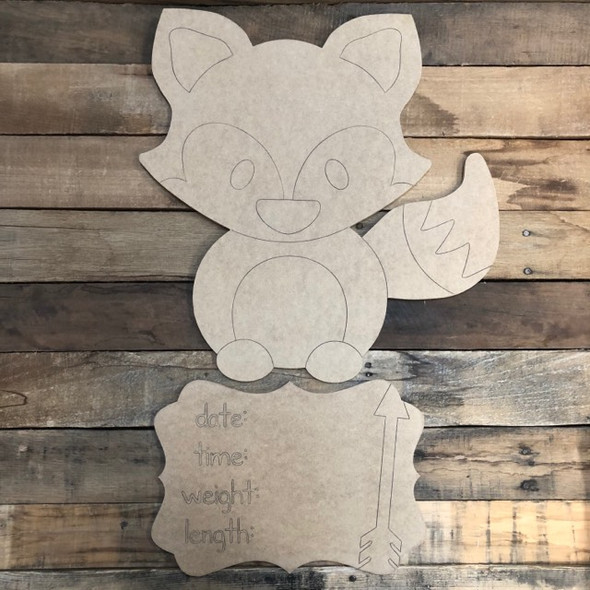 Fox Baby Announcement, Door Hanger Paint by Line