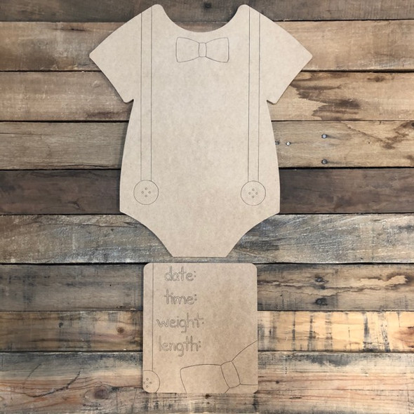 Onesie Baby Announcement, Door Hanger Paint by Line