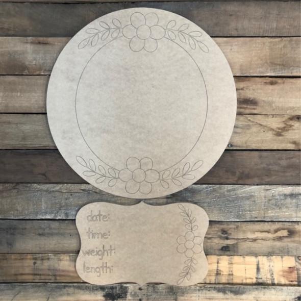 Circle Plaque Baby Announcement, Door Hanger Paint by Line