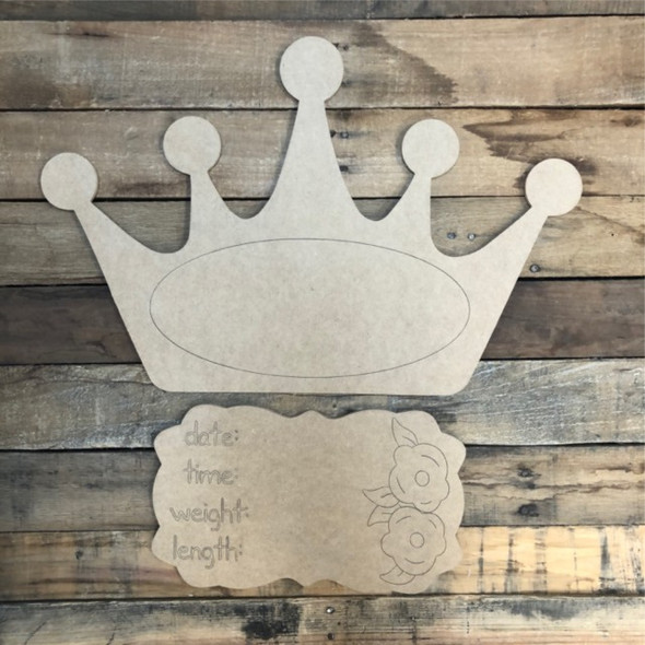 Crown Baby Announcement, Door Hanger Paint by Line