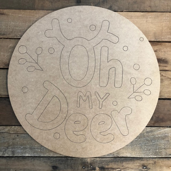 Oh Deer Circle, Wood Cutout, Shape, Paint by Line