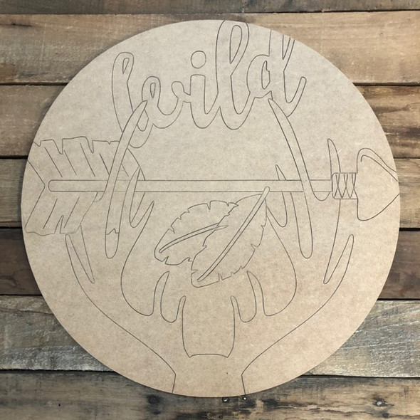Wild Animal Circle, Wood Cutout, Shape, Paint by Line