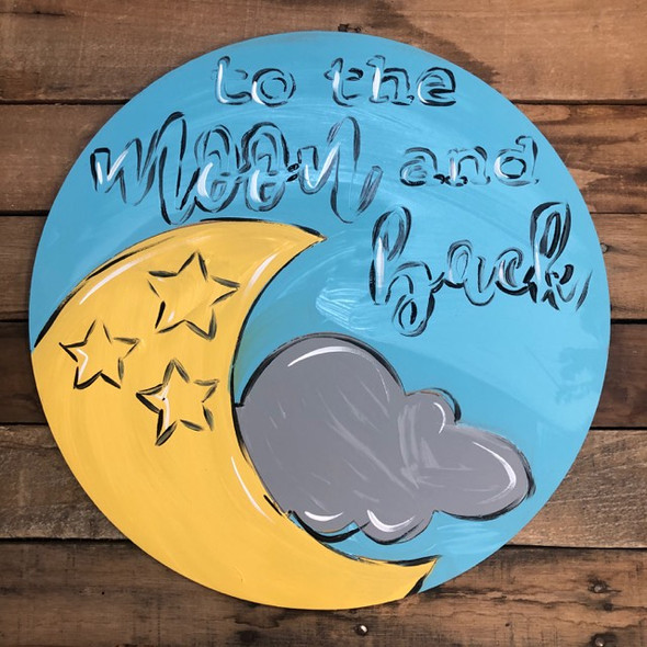 To the Moon Circle, Wood Cutout, Shape, Paint by Line