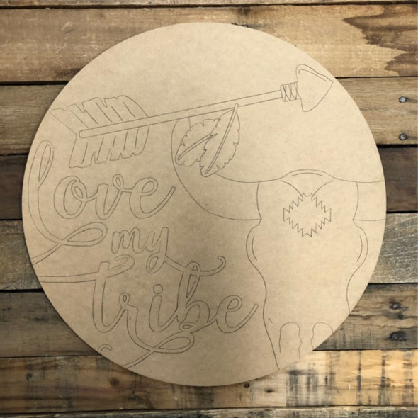 Love my Tribe 2 Circle, Wood Cutout, Shape, Paint by Line