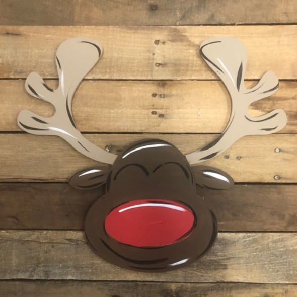 Reindeer with Big Nose Cutout, Unfinished Shape, Paint by Line