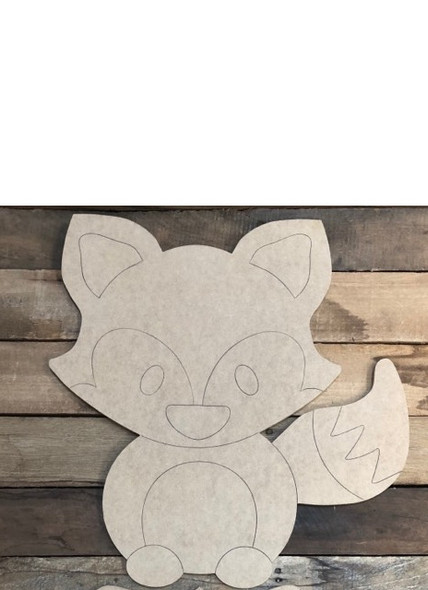 Fox Cutout, Unfinished Shape, Paint by Line
