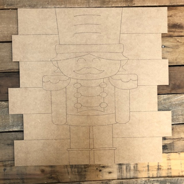Nutcracker Shiplap, Wood Cutout, Shape, Paint by Line