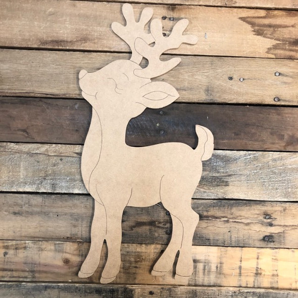 Reindeer Wood Cutout, Unfinished Shape, Paint by Line