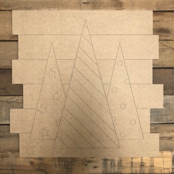 3 Christmas Trees Shiplap, Wood Cutout, Shape, Paint by Line