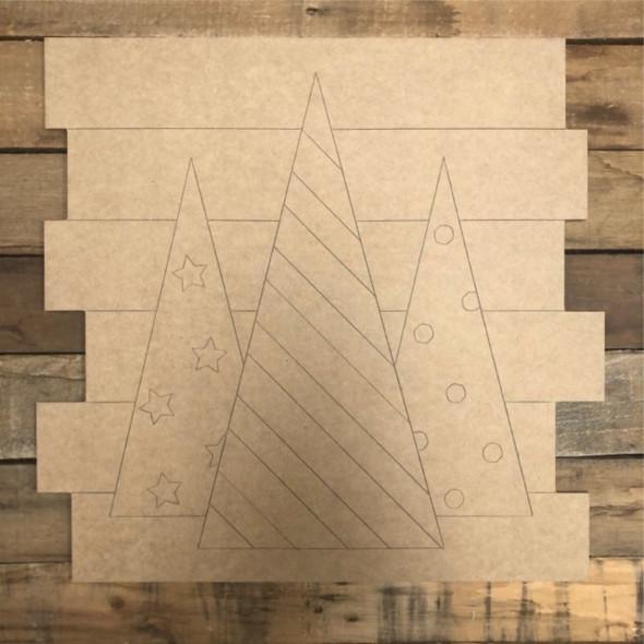 3 Christmas Trees Shiplap, Wood Cutout, Shape, Paint by Line