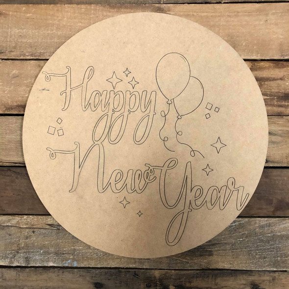 Happy New Year Circle, Unfinished Wood Shape, Paint by Line