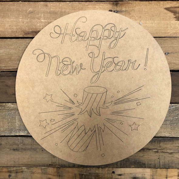 Happy New Year Fire Cracker, Unfinished Wood Shape, Paint by Line