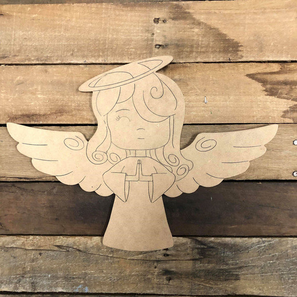 Praying Angel, Unfinished Wood Cutout, Shape, Paint by Line