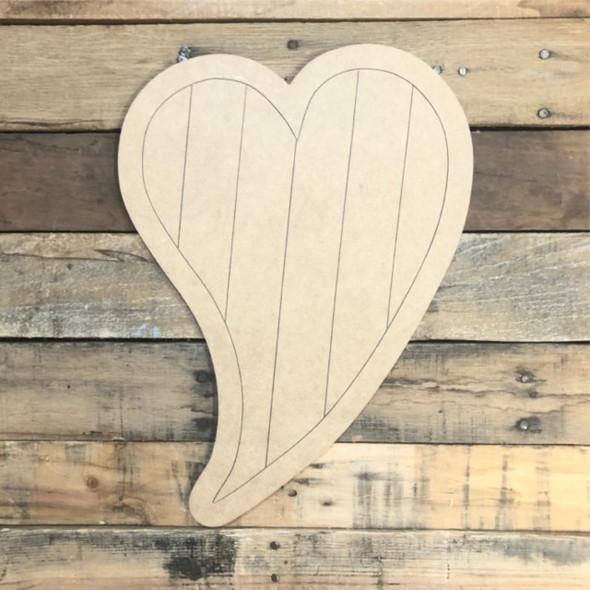 Fancy Heart Wood Cutout, Unfinished Shape, Paint by Line