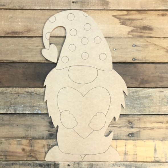 Gnome with Heart Wood Cutout, Unfinished Shape, Paint by Line
