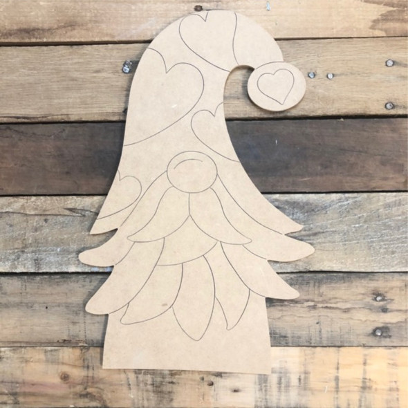 Heart Gnome Wood Cutout, Unfinished Shape, Paint by Line