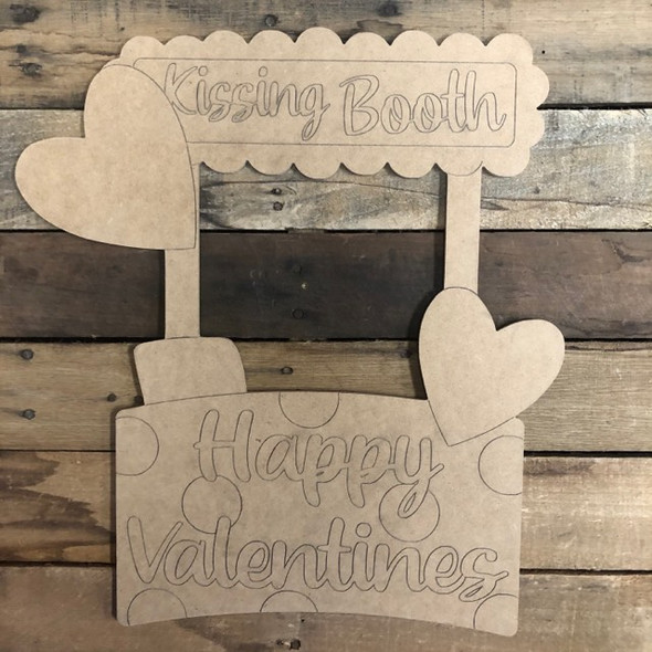 Kissing Booth, Valentines Wood Cutout, Shape, Paint by Line
