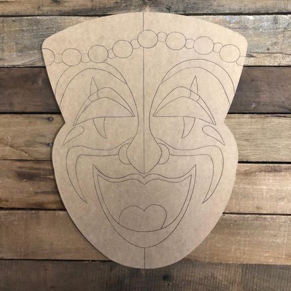 Mardi Gras Mask, Wood Cutout, Shape, Paint by Line