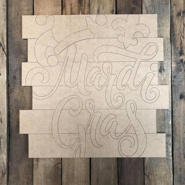 Mardi Gras Word Shiplap, Wood Cutout, Shape, Paint by Line