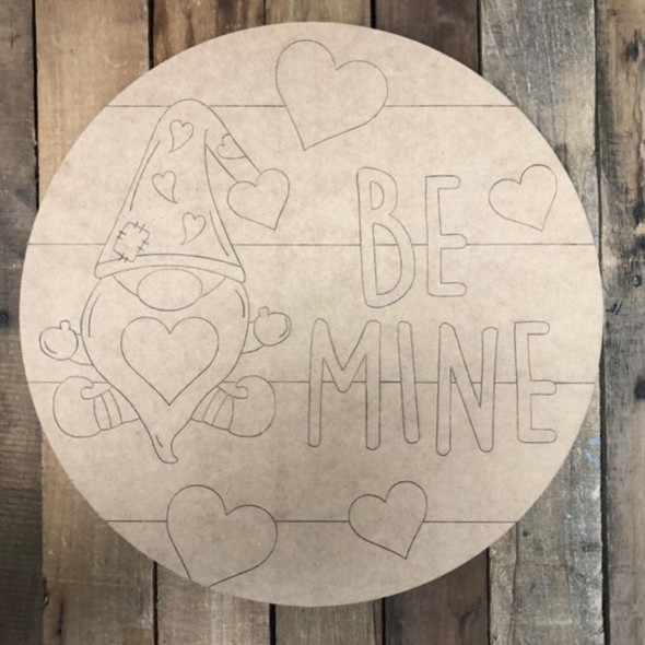 Be Mine Gnome Circle, Wood Cutout, Shape, Paint by Line