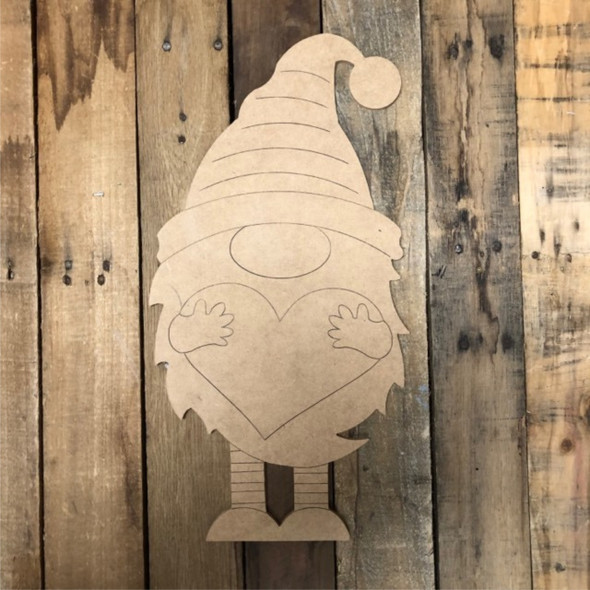 Gnome Holding Heart, Wood Cutout, Shape, Paint by Line