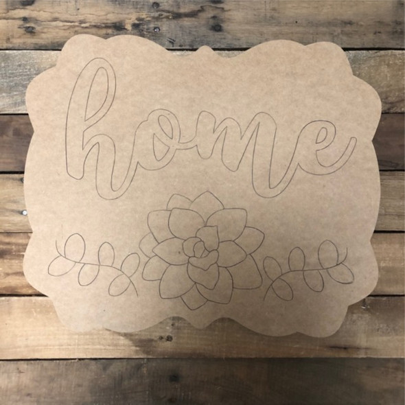 Home Flower Plaque, Wood Cutout, Shape, Paint by Line
