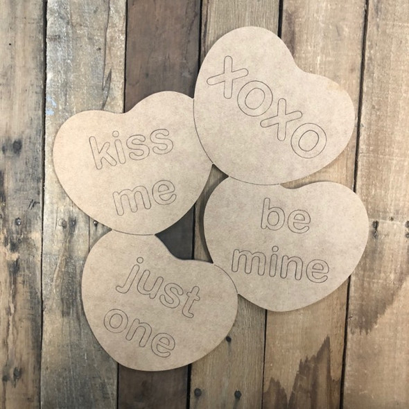 Valentine 4 Hearts, Wood Cutout, Shape, Paint by Line