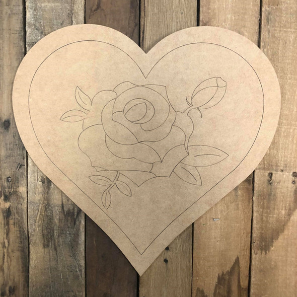 Heart Rose, Wood Cutout, Shape, Paint by Line