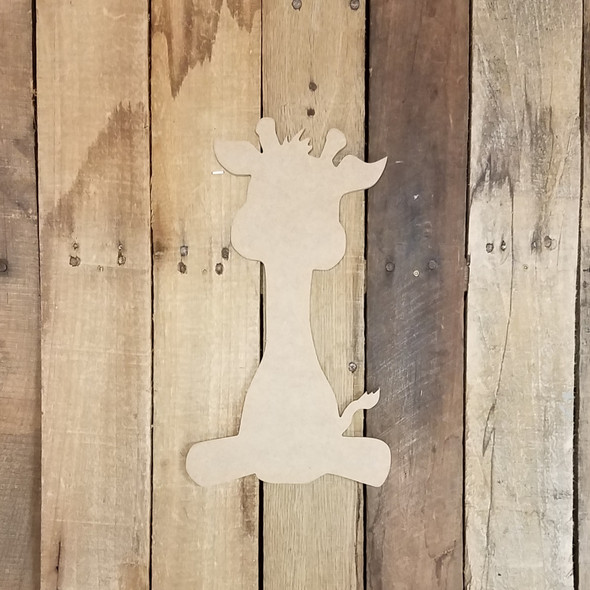 Sitting Giraffe, Paintable Shape, Unfinished Cutout, Craft Wood