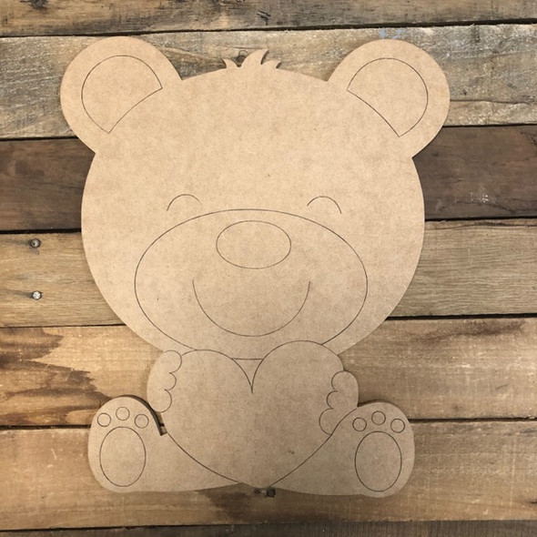 Heart Bear Cutout, Unfinished Shape, Paint by Line