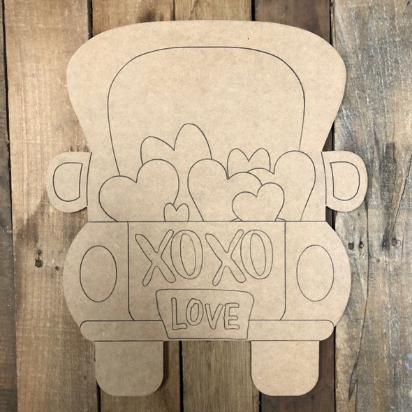 XOXO Heart Truck Valentine Wood Cutout, Shape, Paint by Line