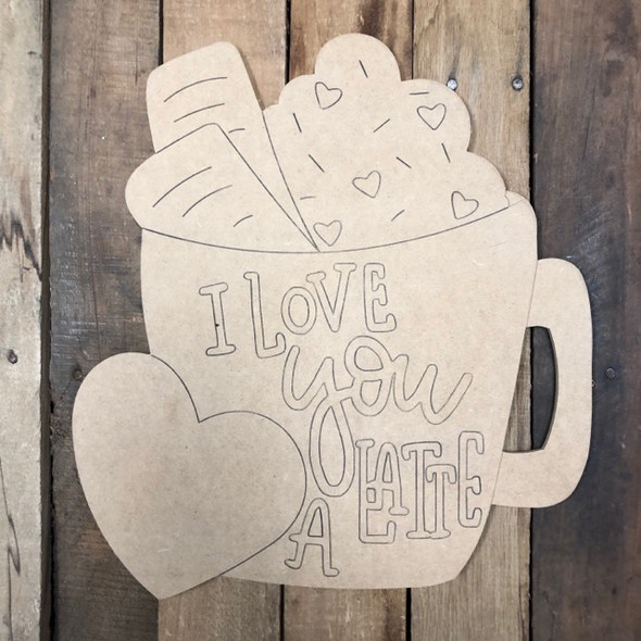 Love You Latte Valentine Wood Cutout, Shape, Paint by Line