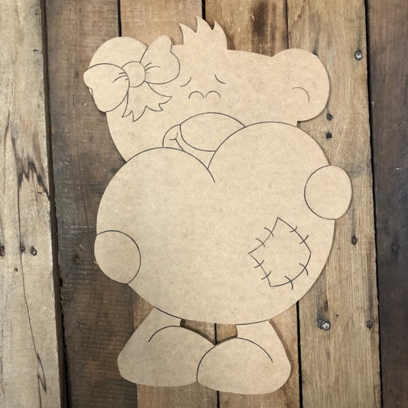 Heart Bear with Bow Cutout, Unfinished Shape, Paint by Line